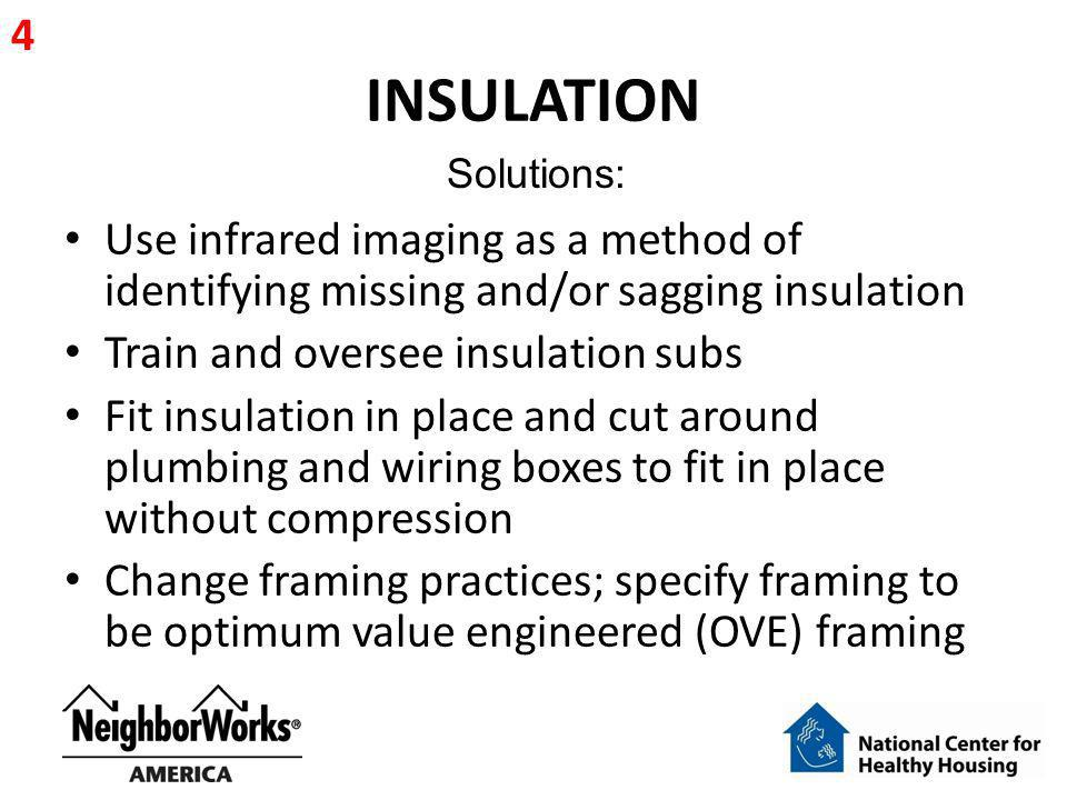 4 INSULATION. Solutions: Use infrared imaging as a method of identifying missing and/or sagging insulation.