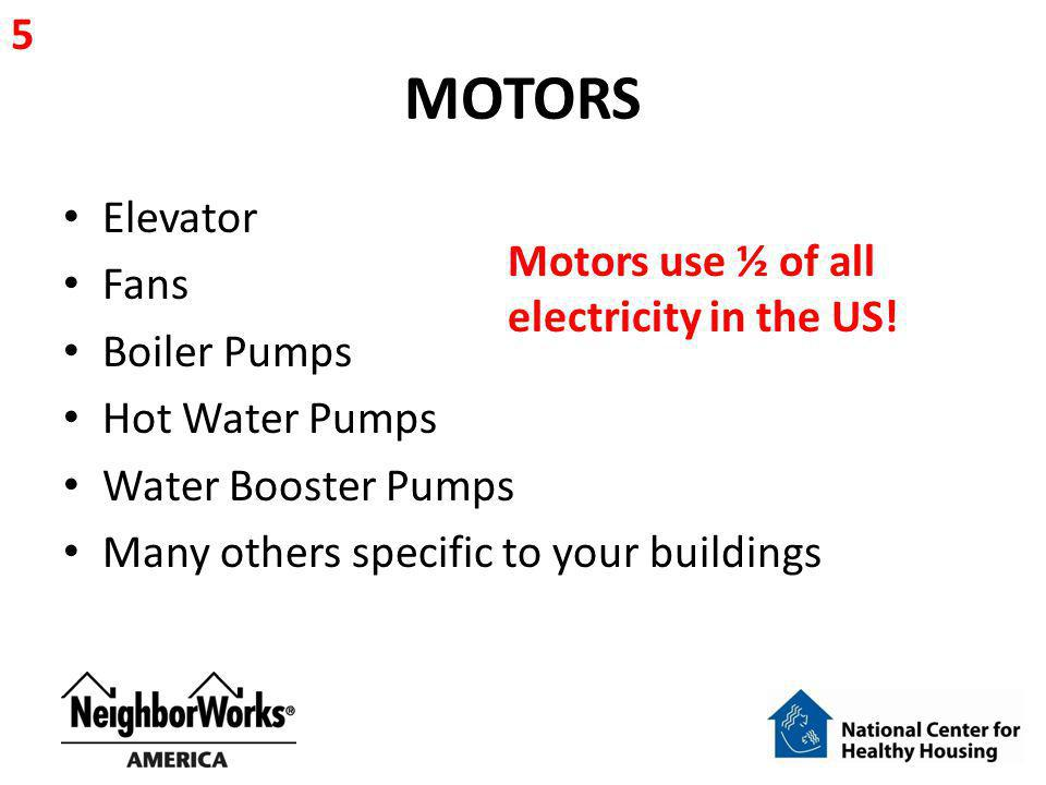 MOTORS 5 Elevator Fans Motors use ½ of all electricity in the US!