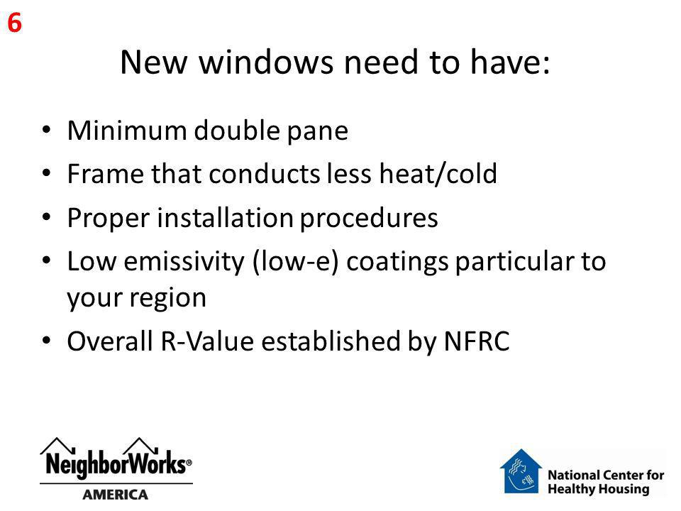 New windows need to have: