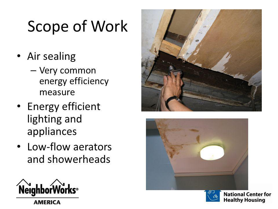 Scope of Work Air sealing Energy efficient lighting and appliances