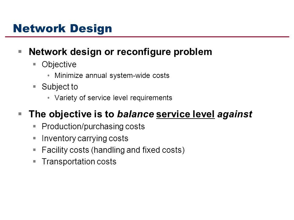 Network Design Network design or reconfigure problem