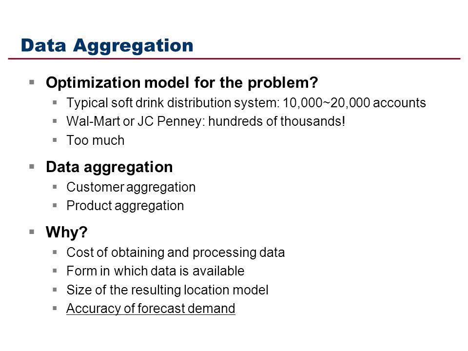 Data Aggregation Optimization model for the problem Data aggregation
