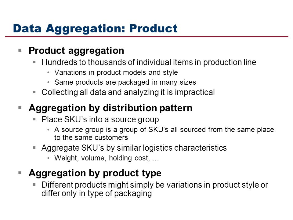 Data Aggregation: Product