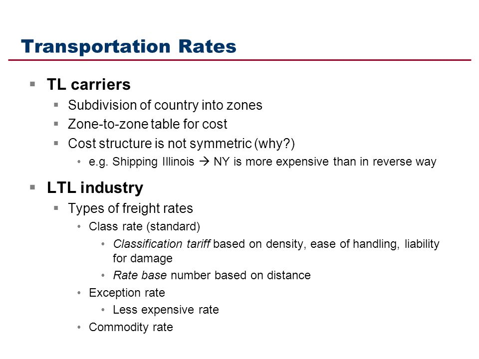 Transportation Rates TL carriers LTL industry