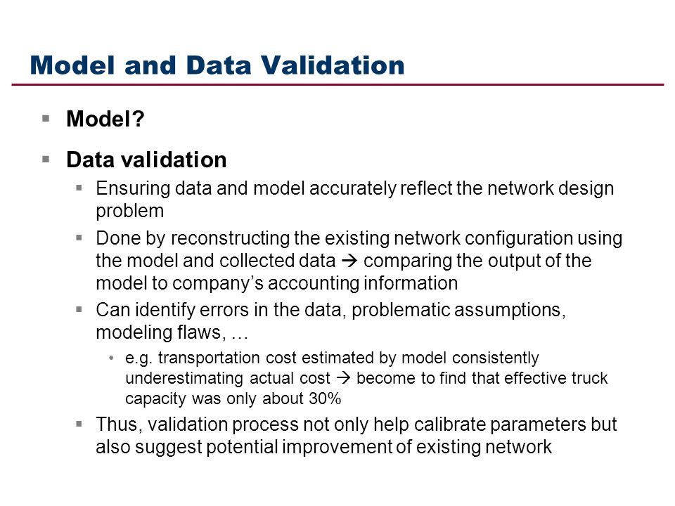 Model and Data Validation