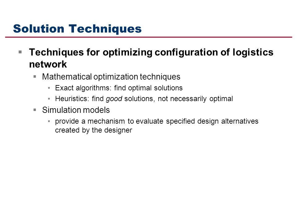 Solution Techniques Techniques for optimizing configuration of logistics network. Mathematical optimization techniques.