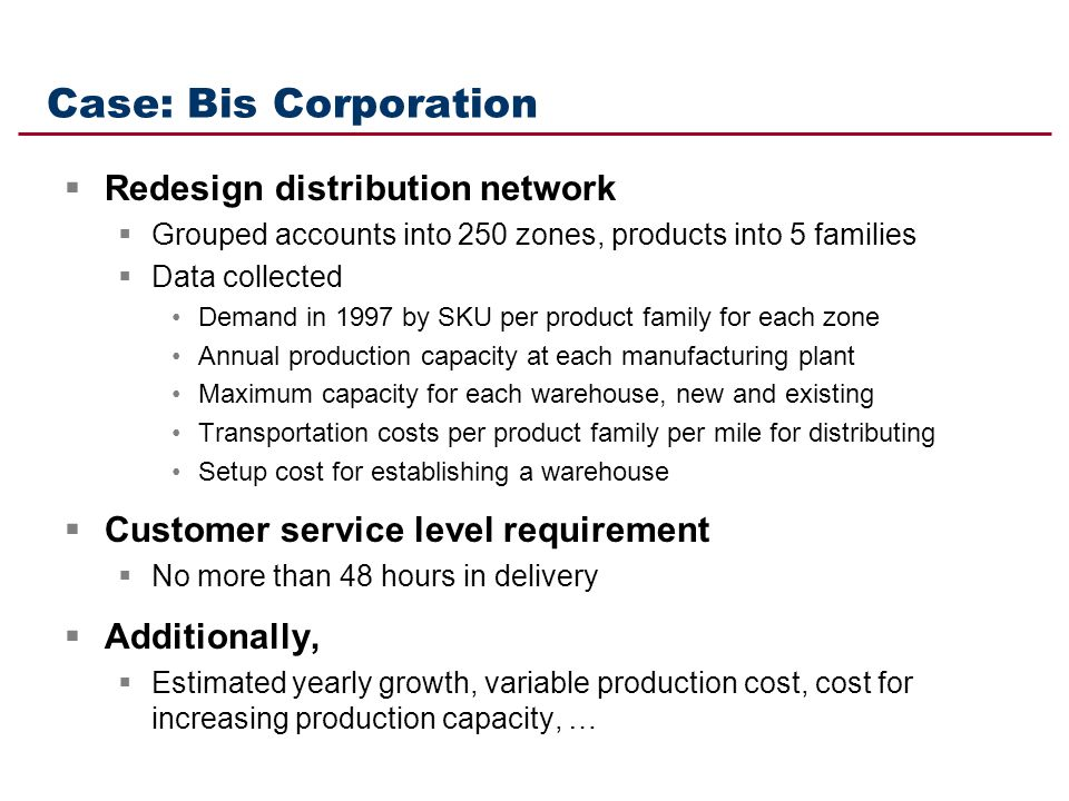 Case: Bis Corporation Redesign distribution network