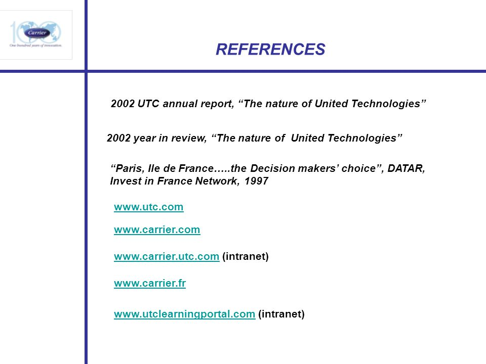 REFERENCES 2002 UTC annual report, The nature of United Technologies