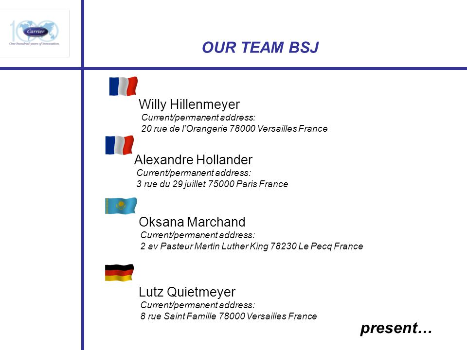 OUR TEAM BSJ present… Willy Hillenmeyer Alexandre Hollander