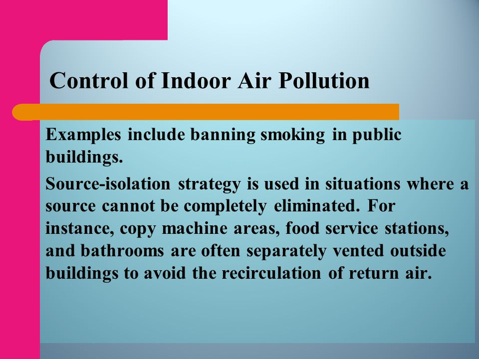 Control of Indoor Air Pollution