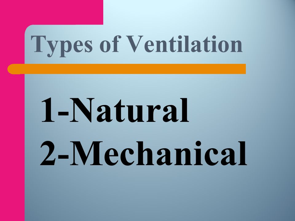 Types of Ventilation 1-Natural 2-Mechanical