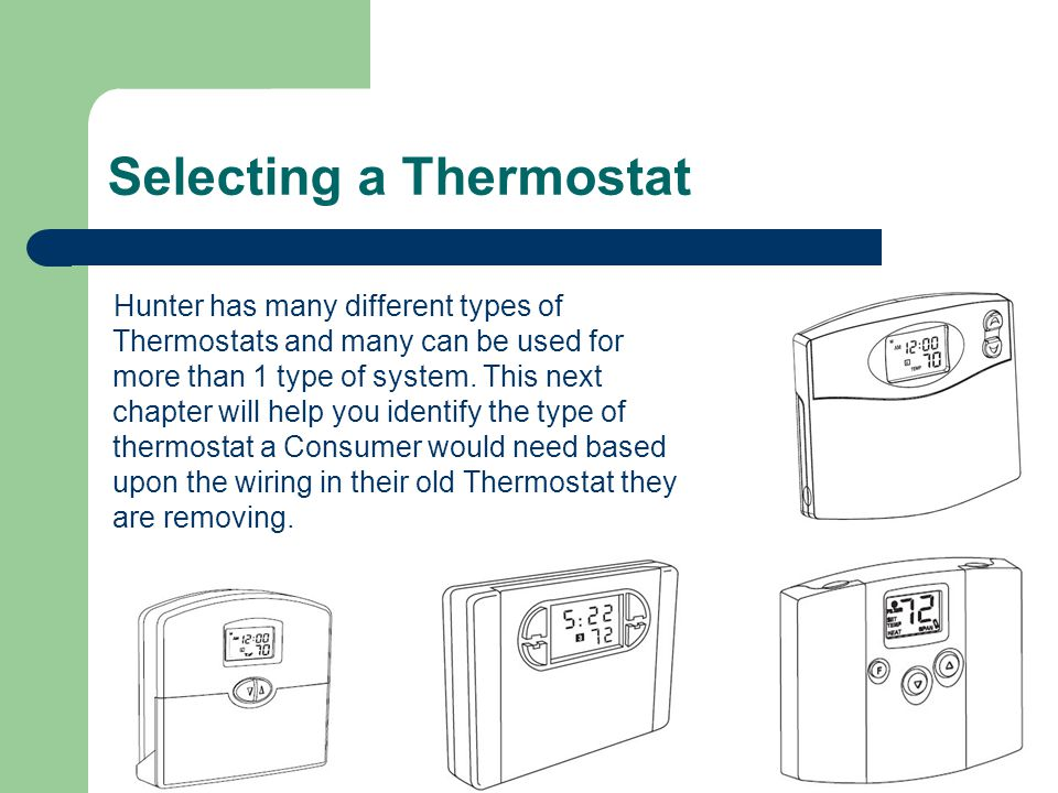 Selecting+a+Thermostat hunter thermostat training ppt video online download hunter 44760 wiring diagram at aneh.co