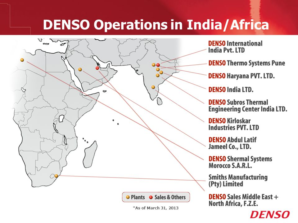 DENSO Operations in India/Africa