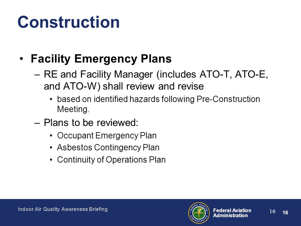 Construction Facility Emergency Plans