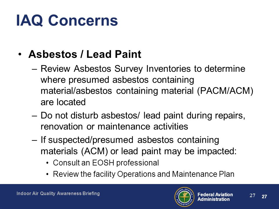 IAQ Concerns Asbestos / Lead Paint