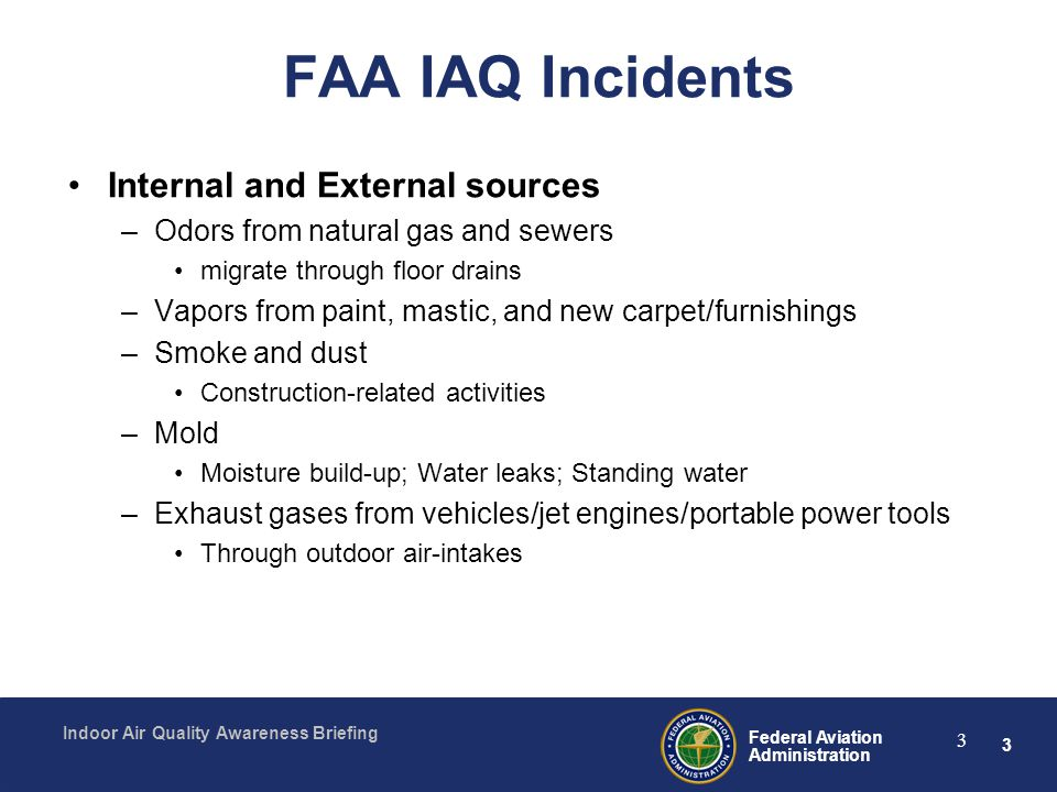 FAA IAQ Incidents Internal and External sources