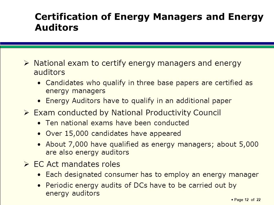 Certification of Energy Managers and Energy Auditors