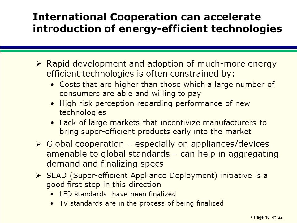 International Cooperation can accelerate introduction of energy-efficient technologies