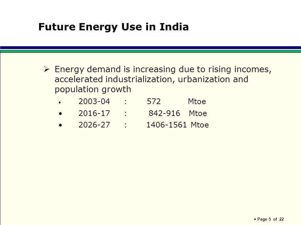 Future Energy Use in India