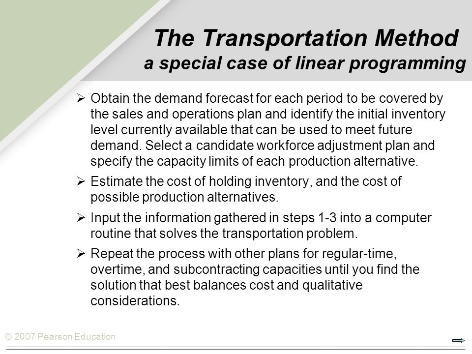 The Transportation Method a special case of linear programming