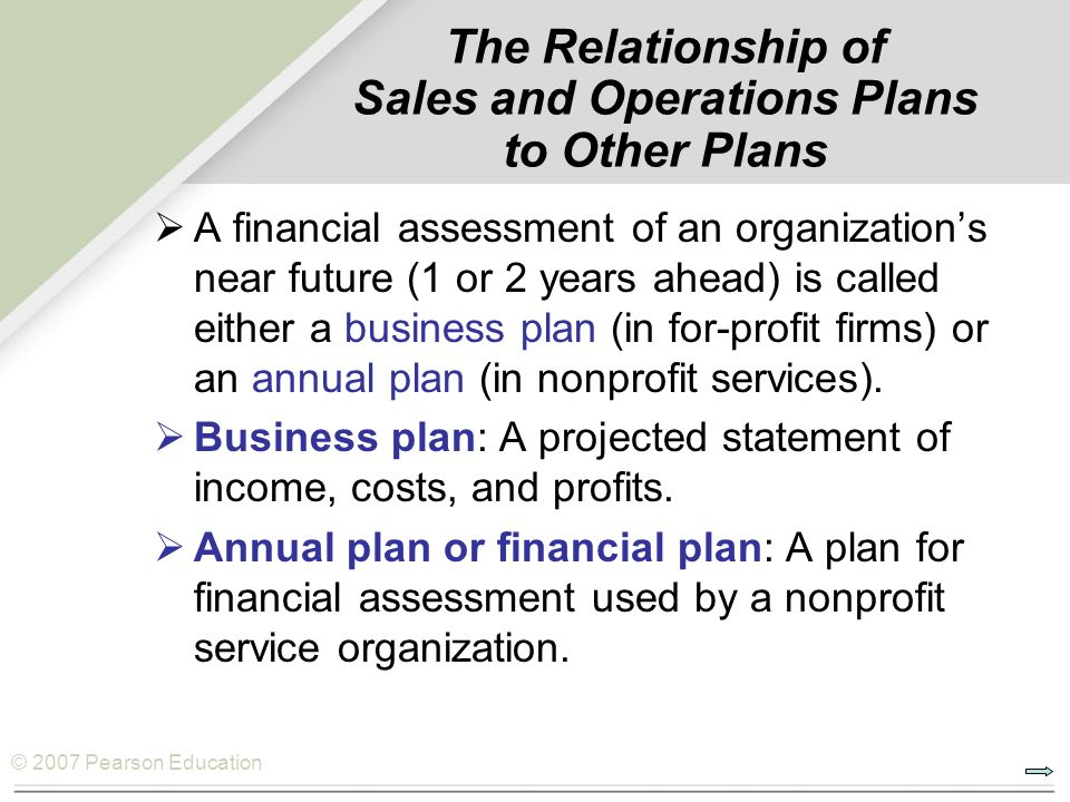 The Relationship of Sales and Operations Plans to Other Plans
