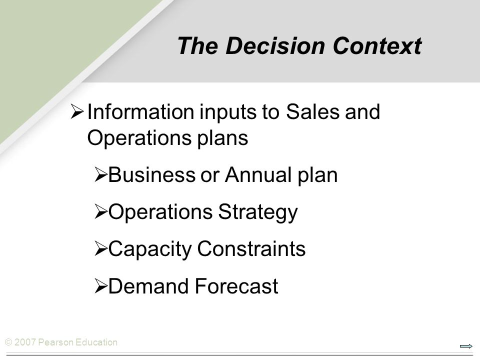 The Decision Context Information inputs to Sales and Operations plans