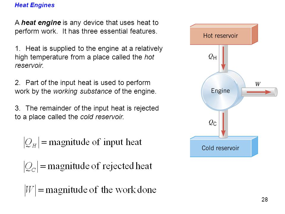 A heat engine is any device that uses heat to