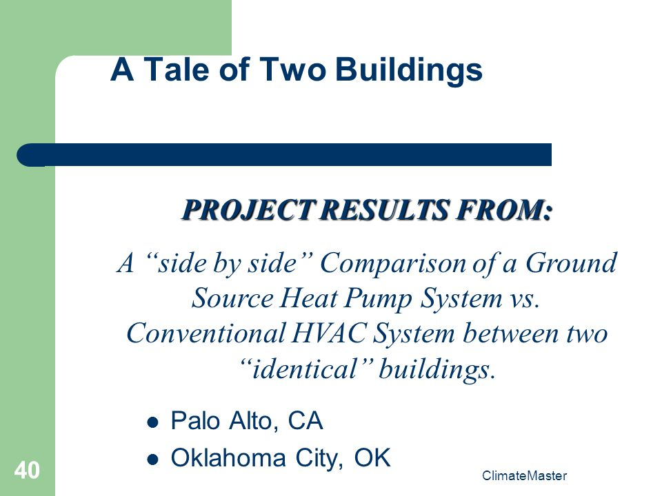 A Tale of Two Buildings PROJECT RESULTS FROM: