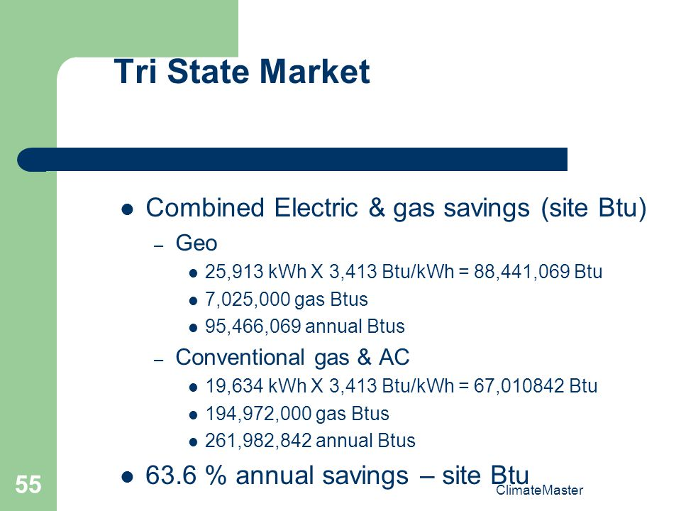 Tri State Market Combined Electric & gas savings (site Btu)