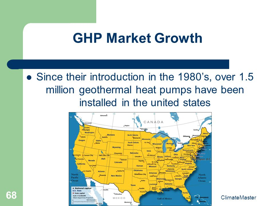GHP Market Growth Since their introduction in the 1980's, over 1.5 million geothermal heat pumps have been installed in the united states.