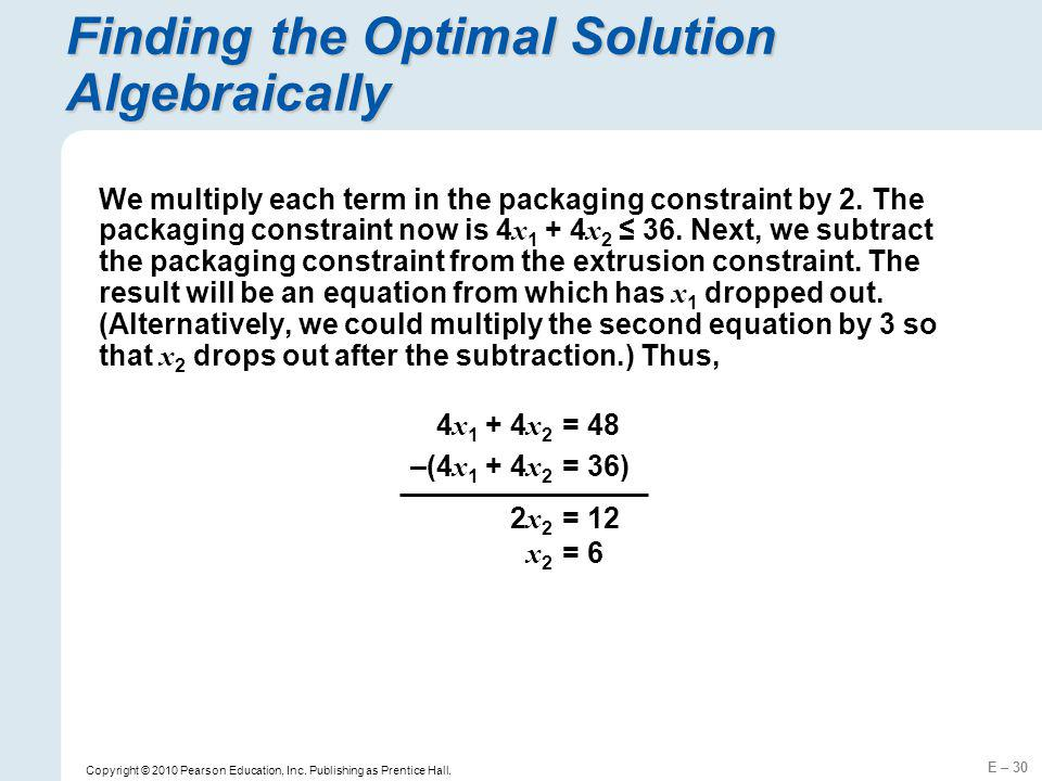 Finding the Optimal Solution Algebraically