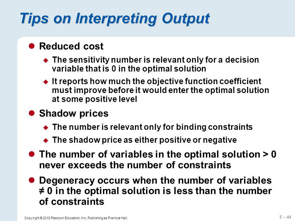 Tips on Interpreting Output