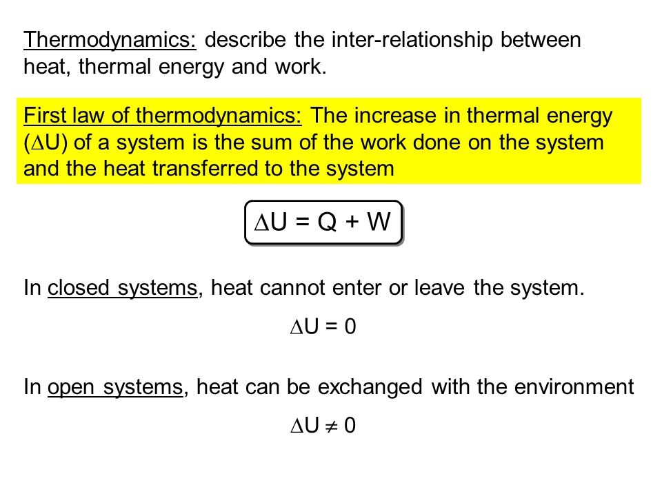 Thermodynamics: describe the inter-relationship between heat, thermal energy and work.