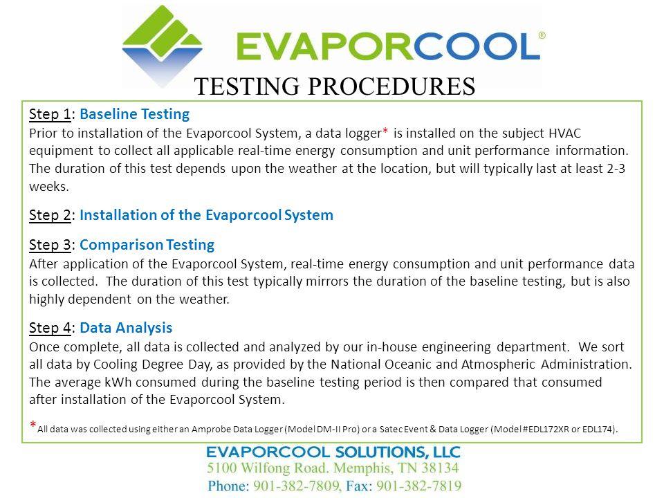 TESTING PROCEDURES Step 1: Baseline Testing