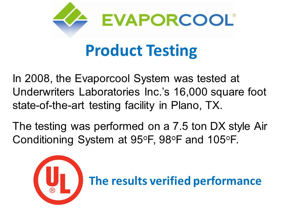 Product Testing The results verified performance