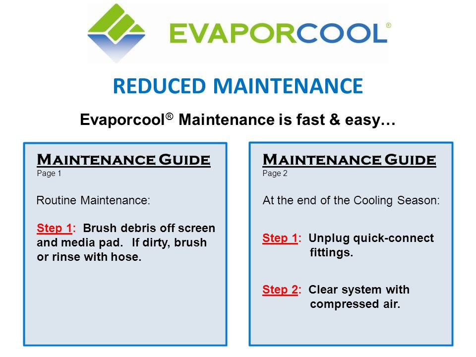 Evaporcool® Maintenance is fast & easy…