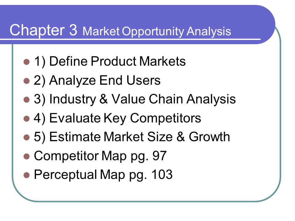 Chapter 3 Market Opportunity Analysis