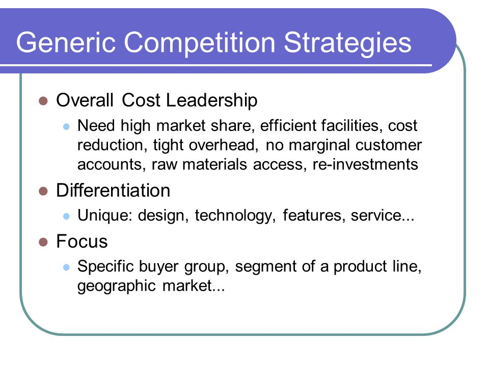 Generic Competition Strategies