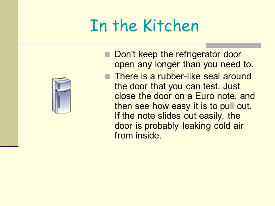 In the Kitchen Don t keep the refrigerator door open any longer than you need to.