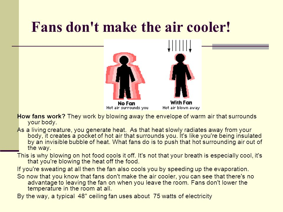 Fans don t make the air cooler!