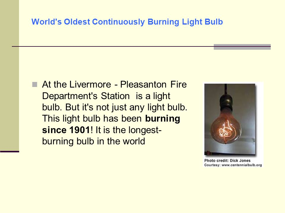 World s Oldest Continuously Burning Light Bulb
