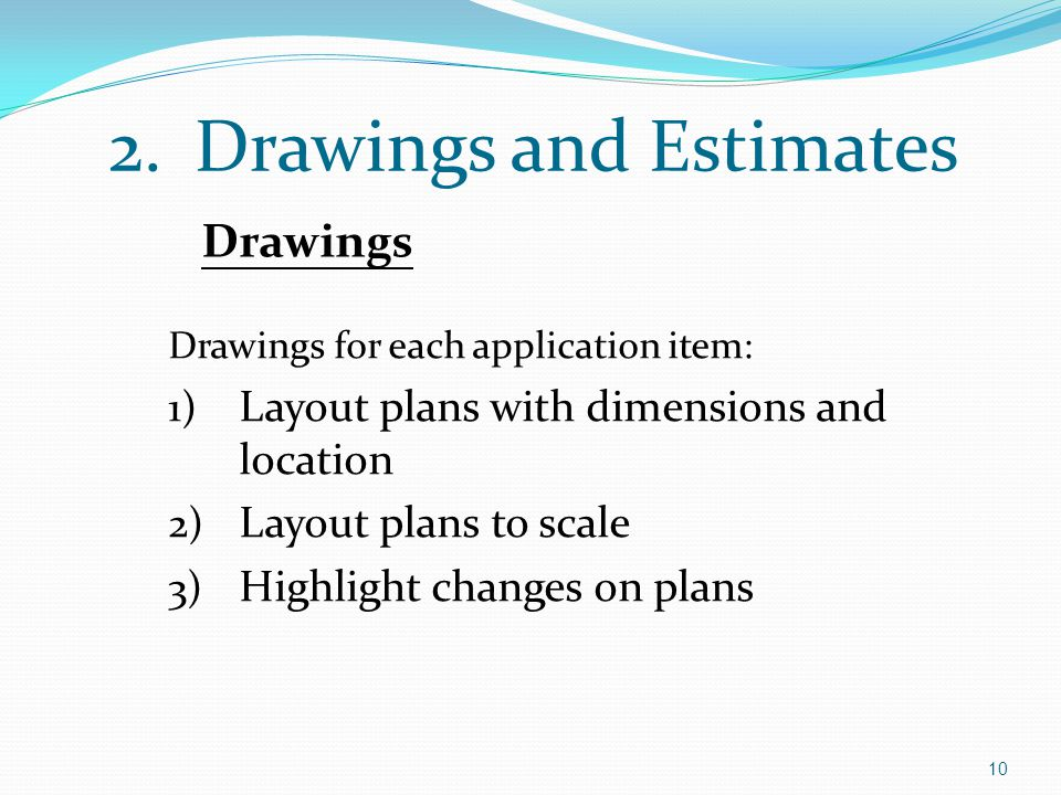 Drawings and Estimates