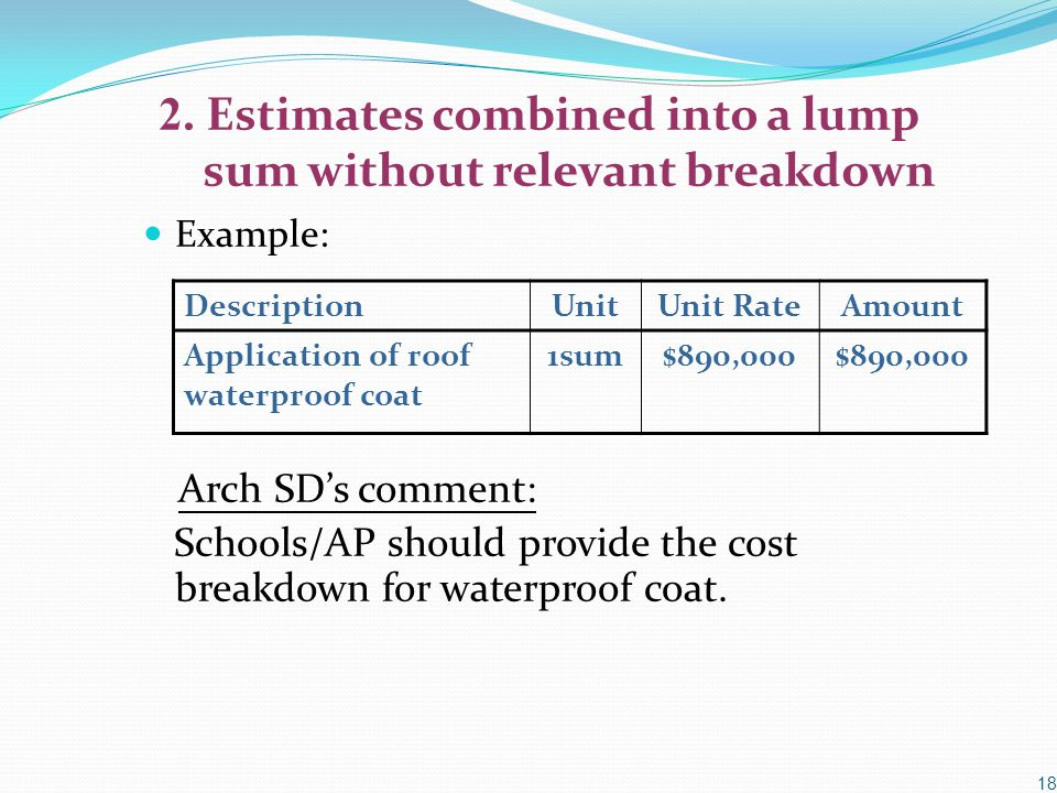 2. Estimates combined into a lump sum without relevant breakdown