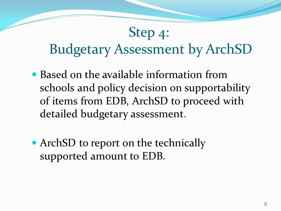 Step 4: Budgetary Assessment by ArchSD