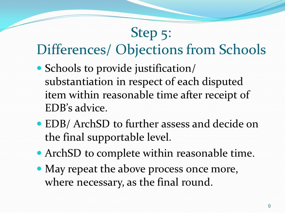 Step 5: Differences/ Objections from Schools