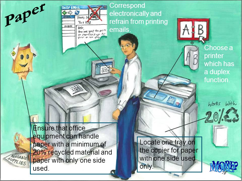 Paper Correspond electronically and refrain from printing emails. Choose a printer which has a duplex function.
