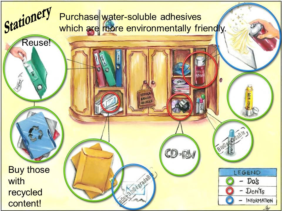Stationery Purchase water-soluble adhesives which are more environmentally friendly.