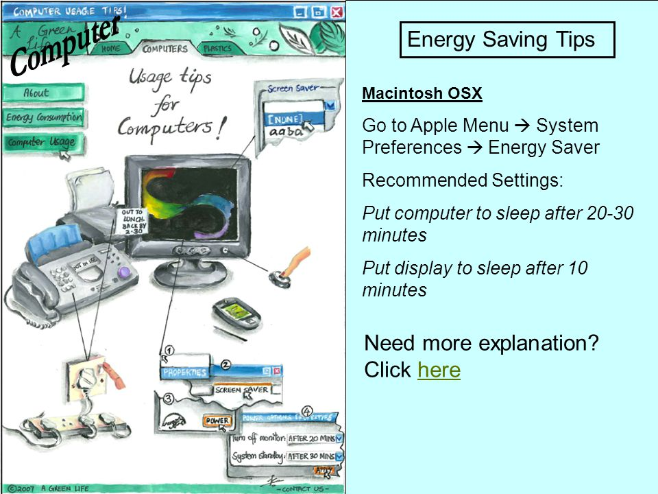 Computer Energy Saving Tips Need more explanation Click here