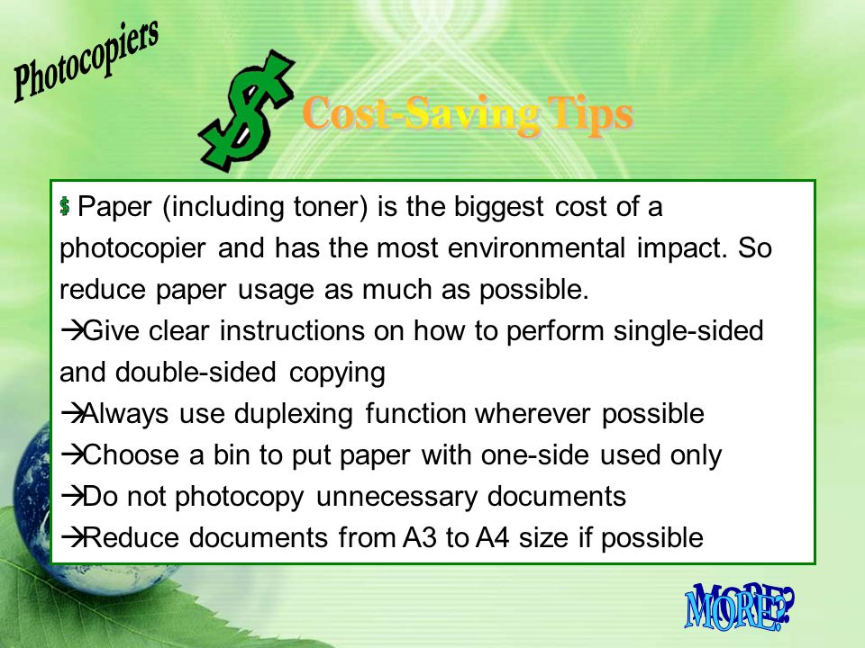 Photocopiers Cost-Saving Tips MORE