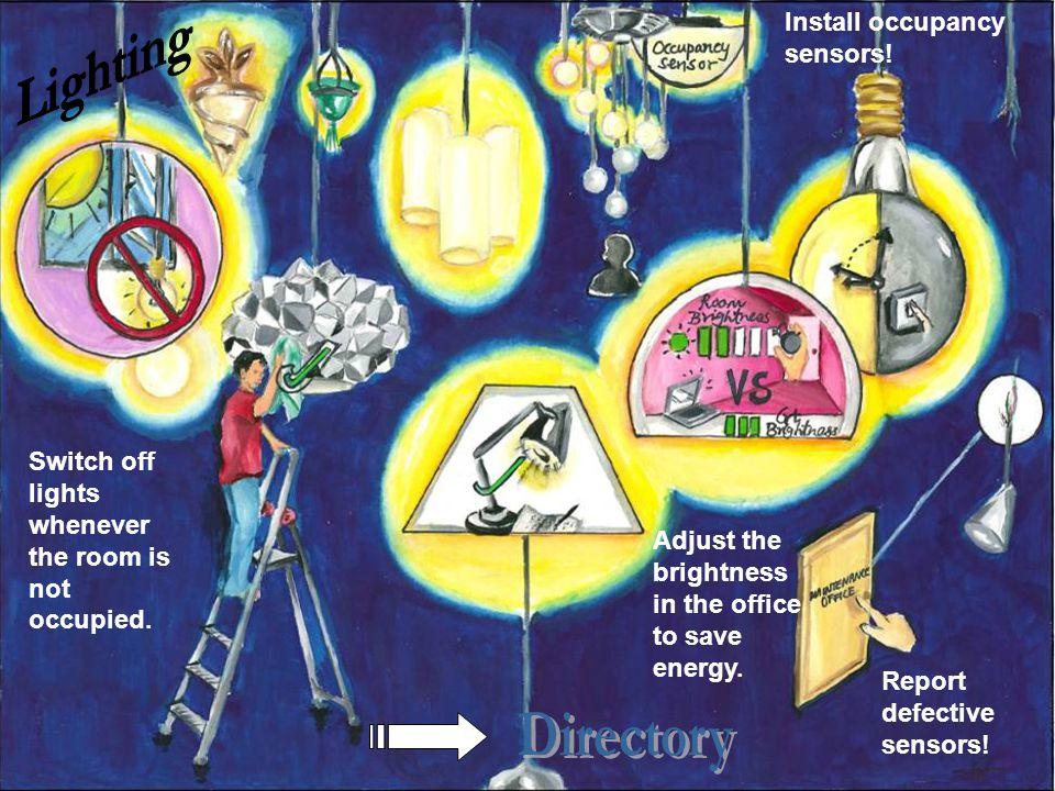 Lighting Directory Install occupancy sensors!